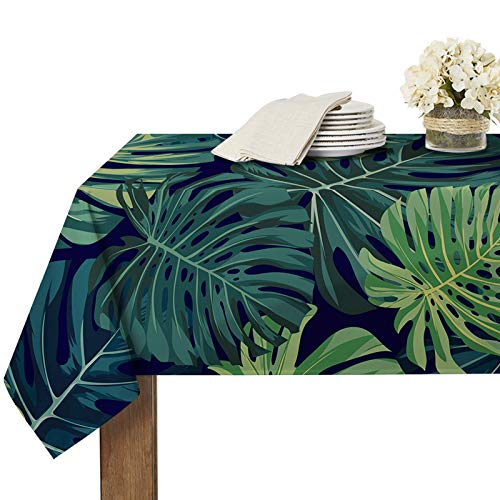 RYB HOME Spillproof Tablecloth for Rectangle Table 6ft - Tropic Leaves Pattern Wrinkle-Free Stain Proof Washable Polyester Table Cover Dining Buffet Garden, 60 x 84 inch