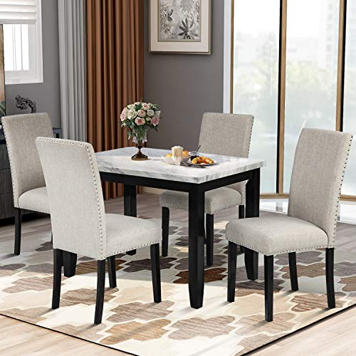 Harper & Bright Designs 5 Piece Dining Table Set, Marble Veneer Top Dining Table Set with 4 Matching Chairsfor Home, Beige