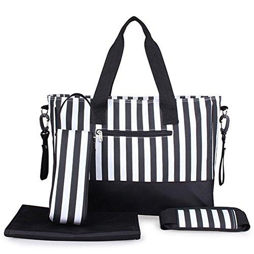 Babytasche Set 5-teilige Windeltasche mit Wickelunterlage Groß Handtasche Streifen Schwarz