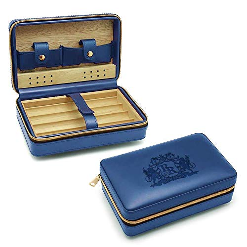 Baroque Royal Travel Cigar Humidor - Portable Humidifier Box for Cigars - Leatherette Cigar Case with Spanish Cedar Wood Lining - Unique Accessories and Cigar Gifts for Men and Groomsmen (Blue)