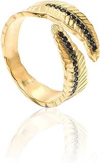 925 Silver Ring , Gold Plating , Adjustable Leaf Ring for Women