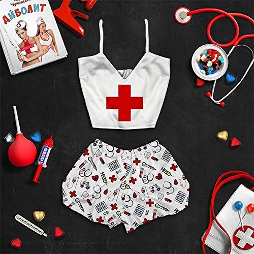 Momyeah Pijama Conjunto de Pijama para Mujer, patrón, Ropa de Dormir, con Cuello en V, Pijama, Trajes de Noche, Letrero médico, M