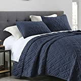 Quilt Set King Size Navy Blue, Classic Geometric Diamond Stitched Pattern, Pre-Washed Microfiber Ultra Soft Lightweight Quilted Bedspread Coverlet for All Season, 3 Piece Includes 1 Quilt and 2 Shams