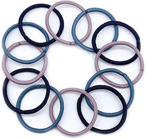 Lot de 12 élastiques à cheveux fins sans accrocs 4 mm d'épaisseur (rose, bleu marine, bleu)