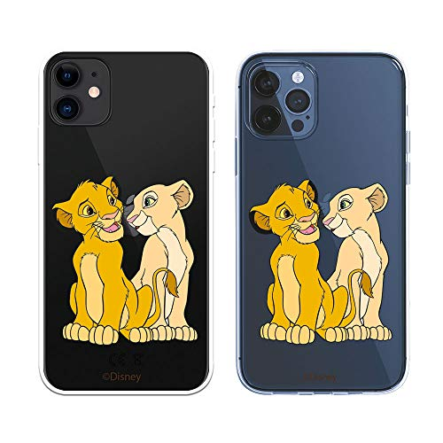 Funda para iPhone 12 - iPhone 12 Pro Oficial de El Rey León Simba y Nala Silueta para Proteger tu móvil. Carcasa para Apple de Silicona Flexible con Licencia Oficial de Disney.