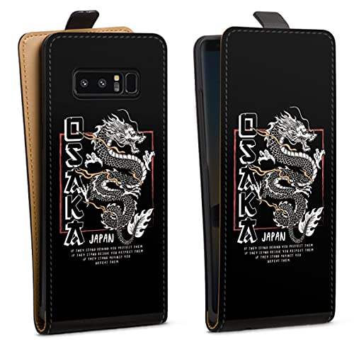 DeinDesign Tasche kompatibel mit Samsung Galaxy Note 8 Duos Flip Hülle Hülle Schwarz Japan Drache Meer