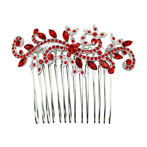 Faship Red Crystal Floral Hair Comb - Red