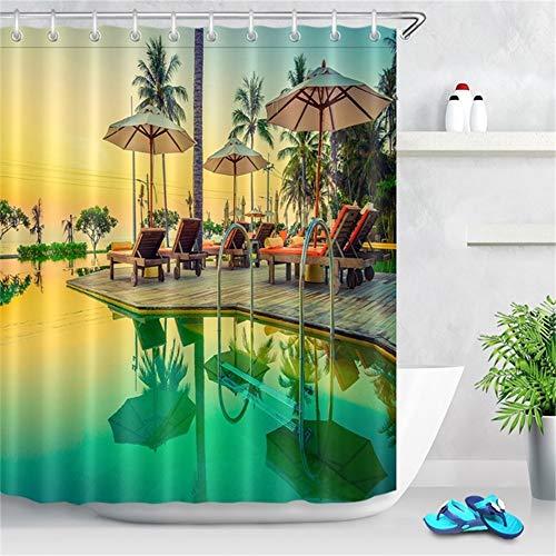 ZLWSSA Cortina De Ducha A Prueba De Agua 3D Piscina De Cocotero Tumbona Puesta De Sol Escénica Tela De Baño 180x240cm