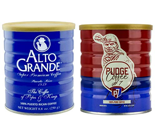 Alto Grande Super Premium Ground Coffee 8.8 Ounce Canister and Pudge Ground Coffee 8.8 Ounce Canister Puerto Rico Variety Bundle