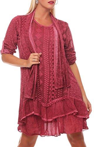 Malito Damen Strickkleid mit Schal | Maxikleid mit Spitze | schickes Freizeitkleid | Pullover - Kostüm 6283 (pink)