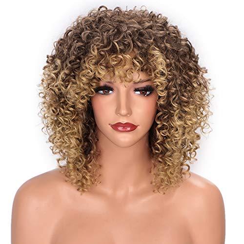 Afro Perücke Braun Blond Kurz Lockige Perücken für Damen Hochwertiges Synthetishes Haar mit Pony 150% Dichte elastisch Natürliches Aussehen Haar Ersatz Perucken VD061D