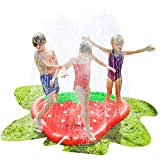 AirMyFun Strawberry Sprinkle & Splash Play Mat, Fun Outdoor Party Sprinkler Toy for Kids, Splash Pad Sprinkler for Toddlers Playing Water, Sprinkler Pad with Fruit Theme