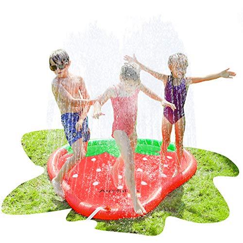 AirMyFun Strawberry Sprinkle amp Splash Play Mat Fun Outdoor Party Sprinkler Toy for Kids Splash Pad Sprinkler for Toddlers Playing Water Sprinkler Pad with Fruit Theme