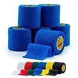 Cinta de calcetines cohesiva SPORTTAPE de 6 rollos, cinta para espinilleras, cinta de mantenimiento - 5 cm x 4,5 m - AZUL - vendaje de compresion, vendaje autoadhesivo
