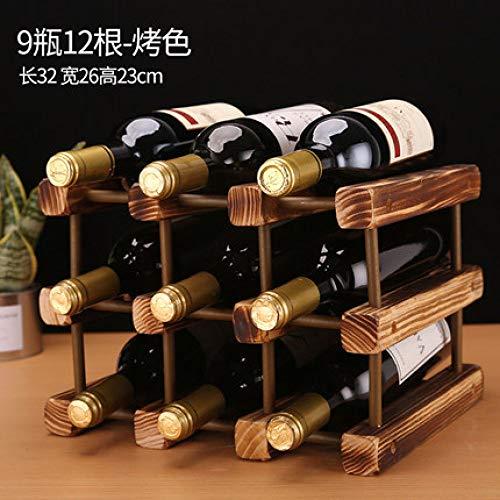 ZWENROU Massivholz Weinregal Dekoration Weinschrank Hause Weinflaschenregal Weinschrank Vitrine, Stil 17