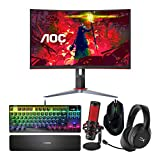 AOC Gamers Bundle: 27-inch Gaming Monitor, Gaming Keyboard, Gaming Mouse, Gaming Headset & QuadCast Condenser Gaming Microphone (Renewed) (5 Items)