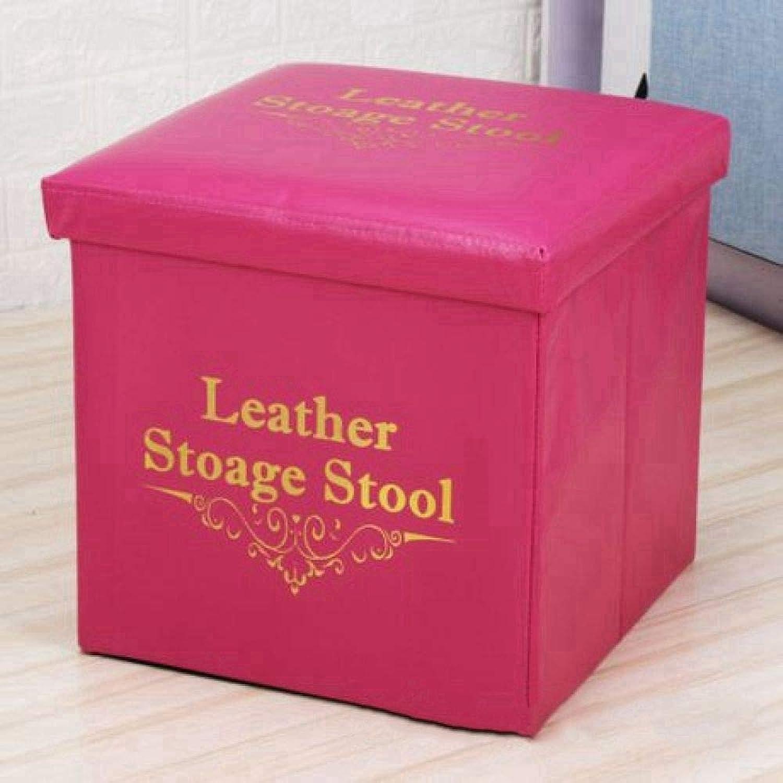 ZhiGe Storage seat,Leather Folding Storage Stool PVC Strengthens Creative Multifunctional Storage Stool