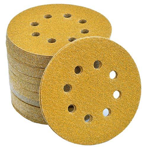 5-Inch 8-Hole Hook and Loop Sanding Discs 60-Grit Random Orbit Sandpaper, 100-Pack