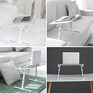 Avantree Quality Adjustable Laptop Table, Portable Standing Bed Desk, Foldable Sofa Breakfast Tray, Notebook Stand Reading Holder for Couch Floor - Minitable Beige