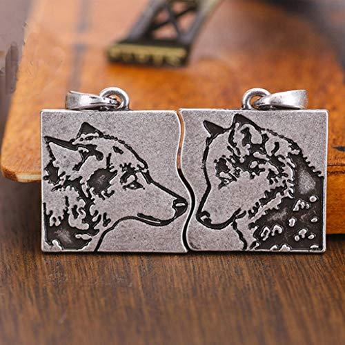 SummarLee 1 Símbolo Vikingo Colgante Pareja Lobo Joyas Collar Joyería Moda Eslava Cabeza de Lobo...