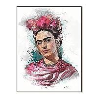 写真フリーダカーロ壁アート、リネンキャンバスプリント女性肖像画アート白黒と水彩画ポスター現代抽象アートワーク壁の装飾絵画、フレームなし,赤,50x70cm