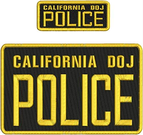 California DOJ Police EMB Patch 6X10 and 2X5 Hook ON Back BLK/Gold -  Shmekke, splclfrc157