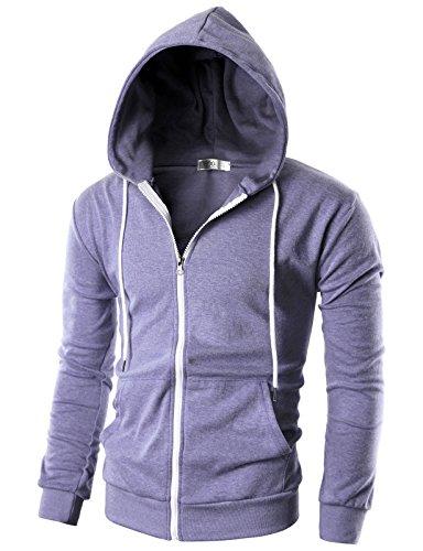 Ohoo Mens Slim Fit Long Sleeve Lightweight Zip-up Hoodie With Kanga Pocket/DCF002-LAVENDER-M