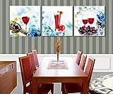 ZXYJJBCL Vidrio De Vino Tinto Fruta Uvas Arte De La Lona Mural 3 Piezas Moderno Y Simple Pintura Colgante Dormitorio Sala De Estar Tríptico Foto Decoración del Hogar
