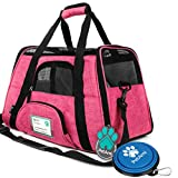 PetAmi Premium Airline Approved Soft-Sided Pet Travel Carrier | Ventilated, Comfortable Design with Safety Features | Ideal for Small to Medium Sized Cats, Dogs, and Pets (Large, Heather Pink)