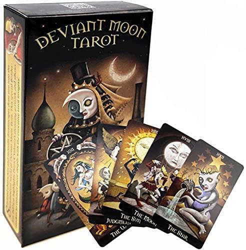 Deviant Moon Tarot-Karte, Deck Mysteriöse Anleitung Weissagung, Fate Tarot Karten Brettspiel Für Familienfreund Geschenk (Taschen, Tischdecken)