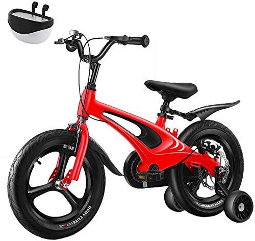 16 'Niños Bicicletas Niños Bicicletas Ultraligero Niño Niño Aleación de magnesio Material Niño Niño Bicicleta Silenciosa Rueda de Entrenamiento 12 Pulgadas sin Esfuerzo Rodamiento-Rojo