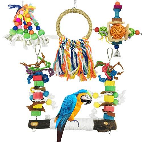 Allazone Juguetes Pájaros, 4 Pz Perchas Pájaros Juguetes con Campanas Juguetes para Masticar Loros Juguetes para Masticar Loros para Escalera de Madera, Columpios, Loro