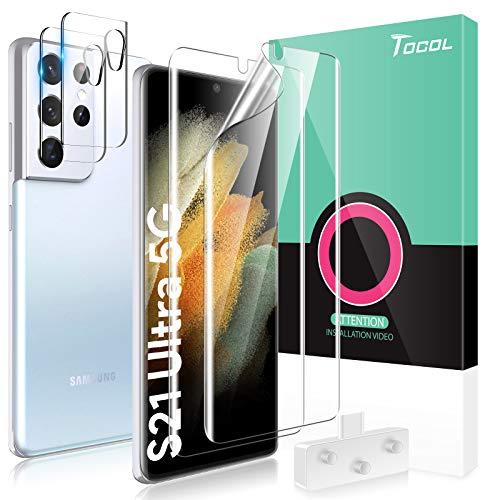 TOCOL 4 Stück Schutzfolie kompatibel mit Samsung Galaxy S21 Ultra 5G TPU Folie 2 Stück, Kamera Panzerglas 2 Stück, Unterstützt Blitzaufnahmen & Fingerabdruck-ID Blasenfrei