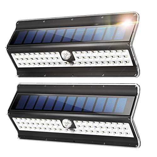 EZBASICS Solarlamp voor buiten, 56 leds, zonnelamp met bewegingssensor voor buiten, waterdichte wandlamp, draadloos veiligheidsnachtlampje, zwart, 2 stuks