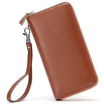 Womens Wallet RFID Blocking Genuine Leather Zip Around Wallet Clutch Wristlet Travel Long Purse for Women Brown