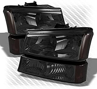 For 2003-2006 Silverado, 2003-2005 Avalanche Smoked Headlights + Bumper Parking Lights Pair Left+Right 2004 2005