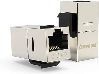 10-Pack CAT7 Feed-Through Keystone Jack,AMPCOM Sheilded RJ45 Cat6 Straight-Through Keystone Module Adapter Couplers for Wa...