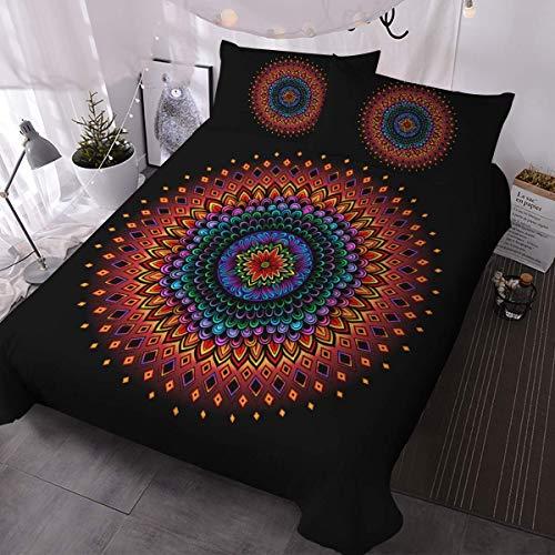 ATZTD Juego de ropa de cama con estampado 3D y 2 fundas de almohada, funda de edredón de 3 piezas (mandala colorida, super king)