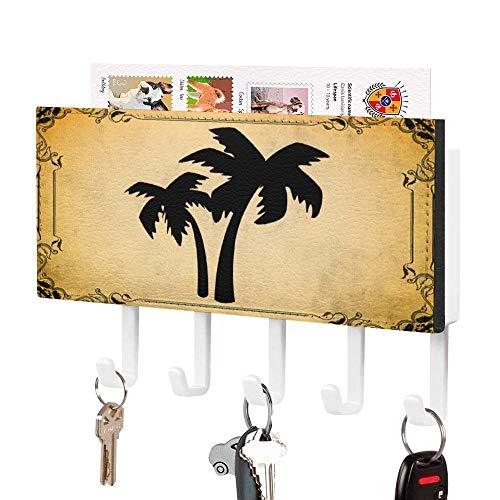 Soporte para llaves, gancho para colgar en la pared, color negro Surf 03, soporte para correo de entrada, organizador de correo de pared, organizador de llaves decorativo con 5 ganchos