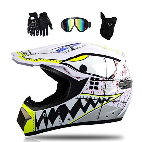 MRDEAR Weißer Hai - Motorradhelm Cross Helme Motocross Helm Crosshelm Schutzhelm Kinder für Motorrad Crossbike Off Road Enduro Sport mit Brille Handschuhe und Sturmmaske,S