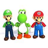 Jiahui Brand 3 Pcs Super Mario Bros Luigi Mario Yoshi PVC Action Figures Toy, 4.7'