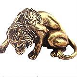 DCLINA Decoraciones Feng Shui Bronce Antiguo Fuerte León Rey Estatua Vintage Cobre Tigre León Escultura Adornos Animal Té Mascota Figura Decoración Escritorio