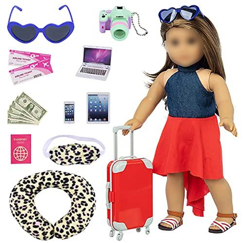 ZITA ELEMENT Maleta de viaje para muñecas, 16 unidades = 1 maleta+2 billetes de avión + 1 pasaporte y otros 12 accesorios – Set de viaje de color rojo para muñecas americanas de 18 pulgadas