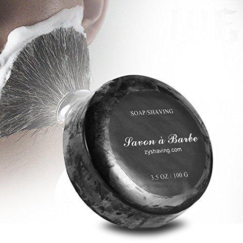 Jabón de afeitar, Jabón de afeitar negro hecho a mano natural Crema de jabón Hidratante Razor Peluquería Salon Afeitado Herramienta