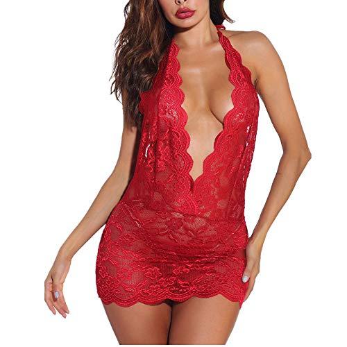NLZQ Dessous Sexy Frauen Spitze Hakenblume Perspektive Nachthemd V-Ausschnitt Neckholder Einteiliger Babydoll Pyjama Sexy Korsett Push Up Top BH Und Höschen XL