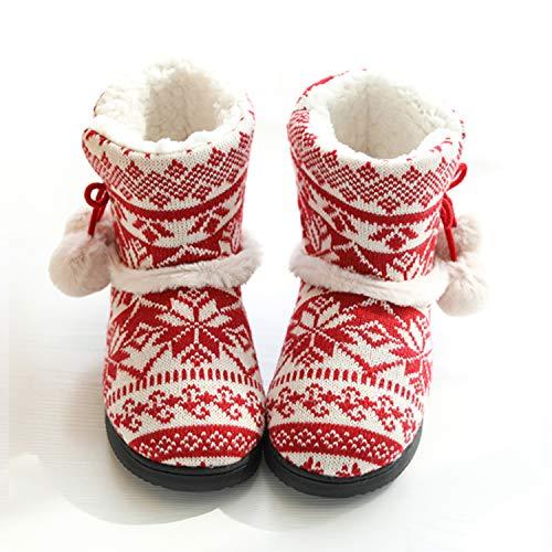 tqgold® Zapatillas de Estar por Casa Mujer Bota Pantuflas Cerradas Invierno Interior Antideslizante Suaves Peluche Bootie Rojo Talla 37 38