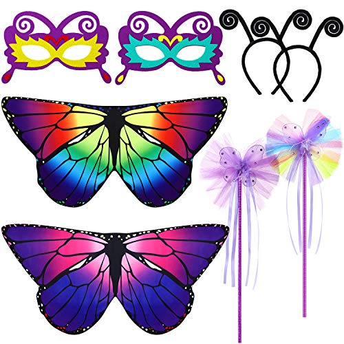 Sumind Juego de 8 Piezas Disfraces de Alas de Mariposa de Niños Máscara de Mariposa Diadema de Antena Varita Tutú para Favores de Fiesta de Disfraces de Halloween(Arcoiris y Púrpura)