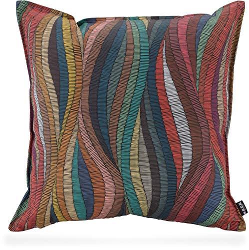 H.O.C.K. Peggy Multicolour Outdoor Kissen und Sitzkissen mit Biese bunt Design wasserabweisend/lichtecht für den Garten (50x50cm, bunt Design)