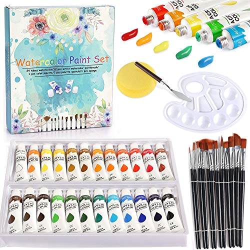 Watercolor Paint Set with Brushes - 24 Premium Watercolors + 12 Artist Paint Brushes, Watercolor Tubes Painting Set for Kids Students Beginners Professional Artists, Great for Watercolor and Acrylic