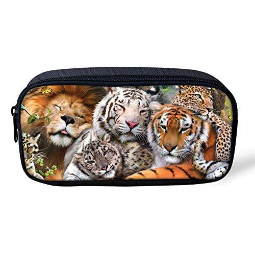 Estuches de lápices para niños, diseño de tigre animal, grande, bolsa para bolígrafos, suministros escolares, oficina, escuela, papelería para niños y adolescentes